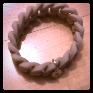 Marc by Marc Jacobs white braided rubber bracelet